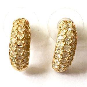 ROMAN Rhinestone Gold Hoop Earrings Vintage